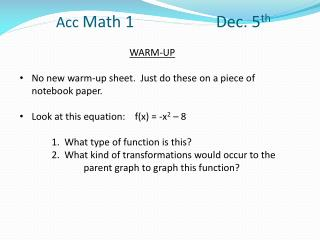 Acc  Math 1 			Dec.  5 th