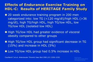Effects of Endurance Exercise Training on HDL-C:  Results of HERITAGE Family Study