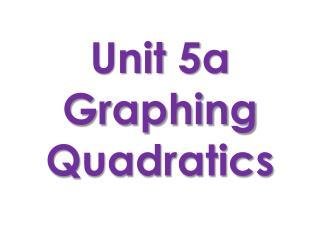 Unit 5a Graphing Quadratics