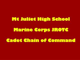 Mt Juliet High School Marine Corps JROTC Cadet Chain of Command
