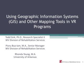 Using Geographic Information Systems (GIS) and Other Mapping Tools in VR Programs