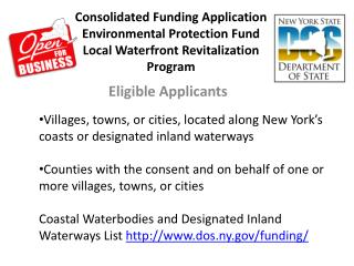 Consolidated Funding Application  Environmental Protection Fund  Local Waterfront Revitalization Program