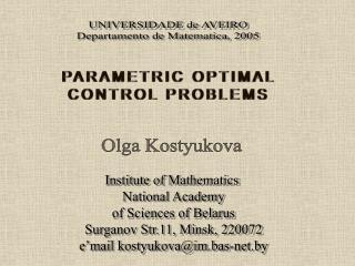 PARAMETRIC OPTIMAL  CONTROL PROBLEMS