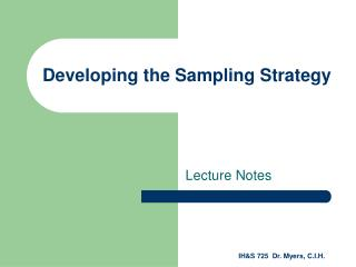Developing the Sampling Strategy