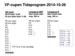 VF-cupen Tidsprogram 2014-10-26