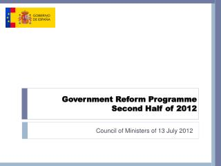 Government Reform Programme Second Half of 2012