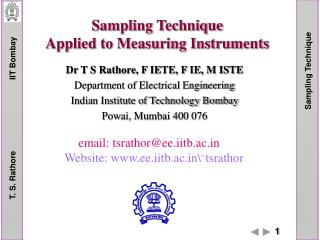 Sampling Technique Applied to Measuring Instruments
