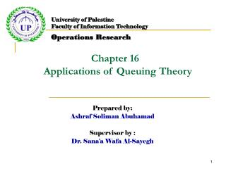 Chapter 16   Applications of Queuing Theory
