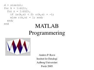 MATLAB  Programmering