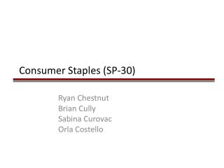 Consumer Staples (SP-30)
