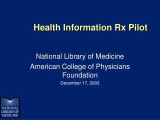 Health Information Rx Pilot