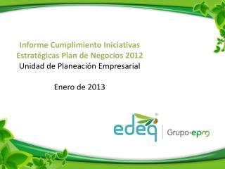 Informe Cumplimiento Iniciativas Estratégicas Plan de Negocios 2012