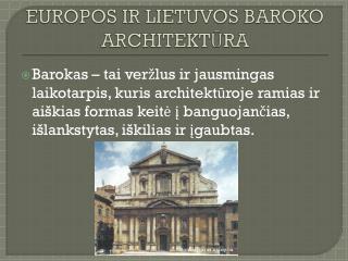 EUROPOS IR LIETUVOS BAROKO ARCHITEKT ŪRA