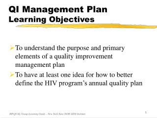 QI Management Plan Learning Objectives