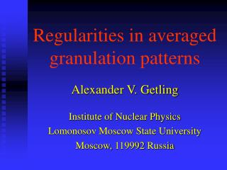 Regularities in averaged granulation patterns