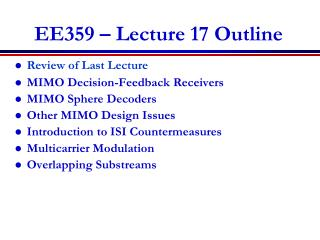 EE359 � Lecture 17 Outline
