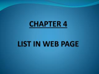 CHAPTER 4 LIST IN WEB PAGE