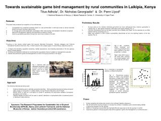 Towards sustainable game bird management by rural communities in Laikipia, Kenya