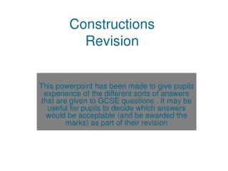 Constructions  Revision