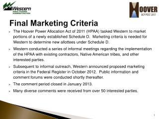 Final Marketing Criteria
