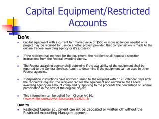 Capital Equipment/Restricted Accounts