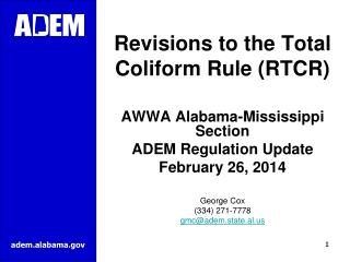 Revisions to the Total Coliform Rule (RTCR)