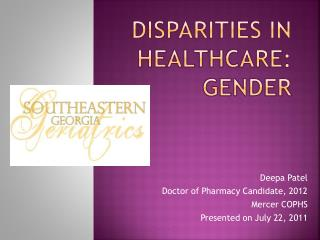 Disparities in  healthcare:  Gender