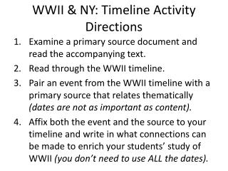 WWII & NY: Timeline Activity Directions