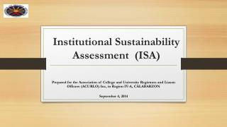Institutional Sustainability Assessment  (ISA)