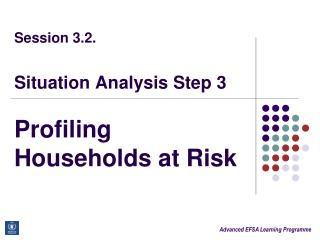 Session 3.2. Situation Analysis Step 3 Profiling Households at Risk