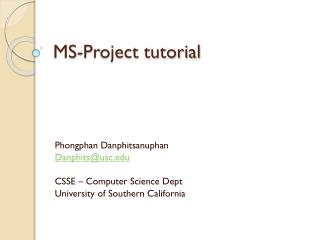 MS-Project tutorial