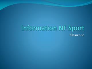 Information NF Sport