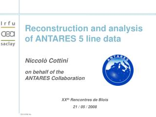 Reconstruction and analysis of ANTARES 5 line data