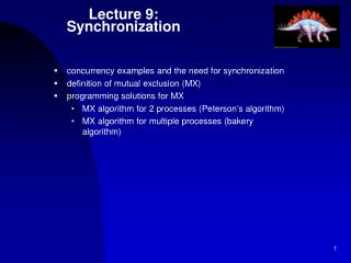 Lecture 9: Synchronization