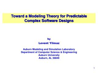 Toward a Modeling Theory for Predictable Complex Software Designs