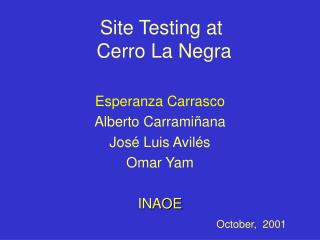 Site Testing at  Cerro La Negra
