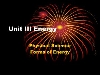 Unit III Energy