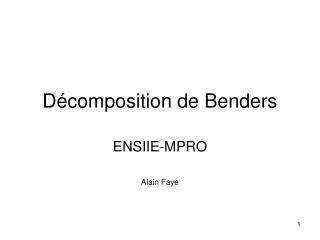 Décomposition de Benders