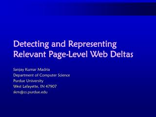 Detecting and Representing Relevant Page-Level Web Deltas