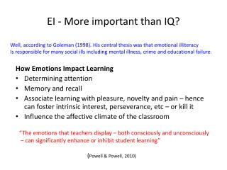 EI - More important than IQ?