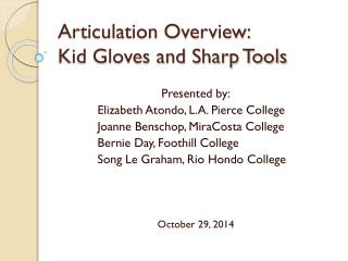 Articulation Overview: Kid Gloves and Sharp Tools