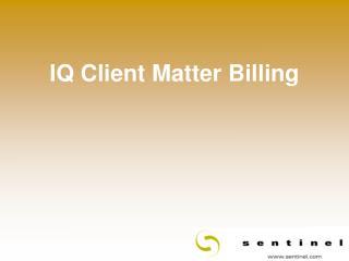 IQ Client Matter Billing