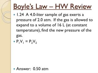 Boyle's Law – HW Review