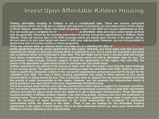 Invest Upon Affordable Killdeer Housing