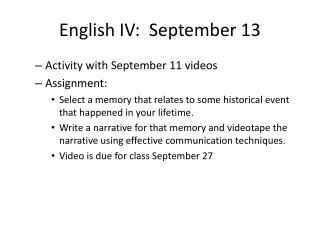 English IV:  September 13