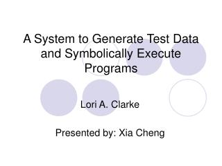 A System to Generate Test Data and Symbolically Execute Programs