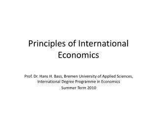 Principles of International Economics