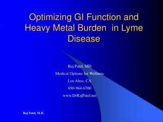 Optimizing GI Function and Heavy Metal Burden  in Lyme Disease