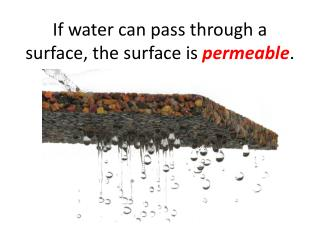 If water can pass through a surface, the surface is  permeable .