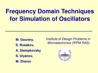 Frequency Domain Techniques for Simulation of Oscillators
